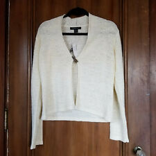 NEW Large AUGUST SILK KNITS Ivory Cream Sweater - Single Button, Long Sleeve