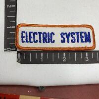 Vtg Orange On White ELECTRIC SYSTEM Car Auto Mechanic Tab Patch 00V5