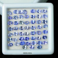 Calibrated 4x3mm/52 Pcs/8 Carats Natural Violet Blue Tanzanite Oval Cut Gems Lot