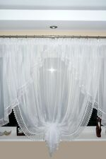 Ready Made Window Curtain Voile Net Curtain 150 X 400 Cm White Ag11 Art Deco