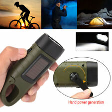 Outdoor Rechargeable 3LED Flashlight Hand Crank Dynamo & Solar Powered Torch New