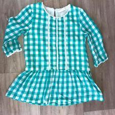Mini Boden Girls Size 4-5 Y Dress Plaid Drop Waist Green Teal