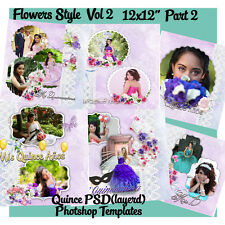 "Photoshop Quinceañera Templates PSD 12x12"" Album,DVD covers & Invitations 2"