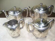 Meriden SP Co 4 piece 1880's tea set hand chased & engraved grape leaf motif