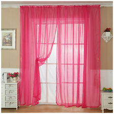 Home Thin Yarn Color Curtain Window Drape Sheer Floor Valance Room Decoration