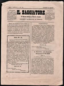 Giornale periodico settimanale di Ferrara Il Saggiatore anno II numeri 8-10 1865