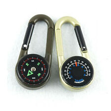 Multifunctional  Hiking Metal Carabiner Mini Compass Thermometer Keychain K2 MK