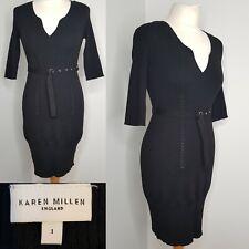 Karen Millen Black Dress Wool Blend LBD Size 1 UK 6 XS Bodycon Wiggle Winter