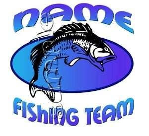 IRON ON TRANSFER PERSONALISED FISH FISHING 16x16cm