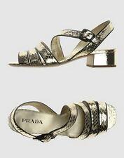 Auth PRADA reptile sandals shoes sandali scarpe donna platino rettile 37½  (38)
