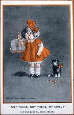 1915 Fred Spurgin/Artist-Signed Postcard: Cat Eats Crying Little Girl's Bird