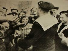 Rare Historical Orig VTG WW2 1944 French Sailors Greet Normandy Townsfolk Photo