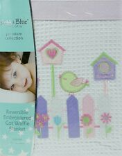 New Bubba Blue Baby Cot Waffle Blanket Chickdee Soft Warm Cotton