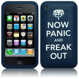 Now Panic & Freak Out Rubber Soft Skin Case Cover Blue for iPhone 3 iPhone 3GS