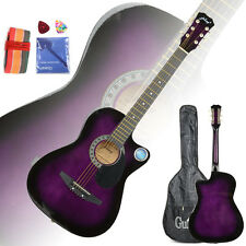 New Purple Basswood Cutaway Acoustic Guitar w/Bag String Pick Strap for Beginner