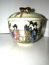Japanese Royal Satsuma Pottery Foo Dog Covered Jar signed