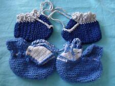Schuh - Baby - ,gehäkelt blau - grau - weiß, G`
