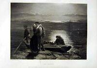 Old Antique Print Man Women Boat Moonlight 1866 Art Journal Poole Bacon 19th