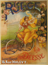 "BICYCLE Fashion Lady  Bike Yellow Dress 12"" X 16""  Vintage Poster Repro FREE S/H"