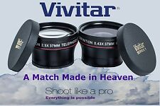 Hi Def Wide Angle & 2.5x Telephoto Lens Set For Sony HXR-MC2500E HXR-MC2500