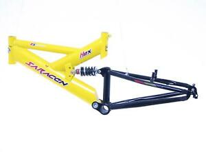 "20"" SARACEN HEX FULL SUSPENSION MTB Bike Bicycle Steel Frame (13"" size) Yellow"