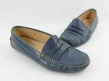 Tod's Women's Blue Leather Driving Moc Loafer Flat Shoe Size 38 8