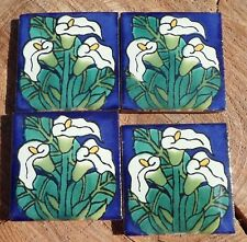 """4~Talavera Mexican pottery 2"""" Tile Calla Lily Flowers three green leaves white"""