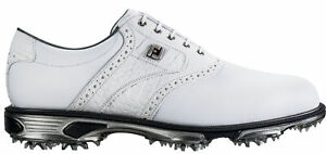 FootJoy DryJoys Tour Golf Shoes 53673 White/White Croc Men's New