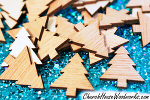 """100 Christmas tree wood shapes, embellishments, ornaments, crafts, cards, DIY 1"""""""