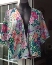 NEW LOOK MULTI COLOURED FLORAL BUTTONLESS CHIFFON TOP  - SIZE 10