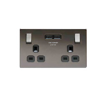 BG USB Socket 13A Switched Double with 2x USB Charger Black Nickel
