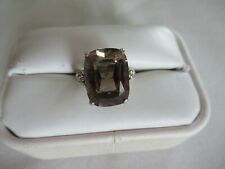 STERLING SILVER & SMOKEY QUARTZ RING SIZE 7 1/4