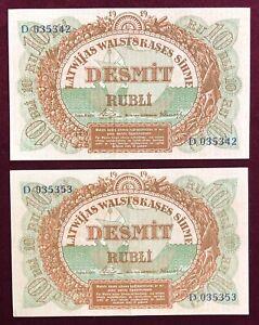 Latvia    10 Rubli          1919     2 Notes       Very Fine+