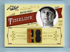 BUSTER POSEY 2012 PRIME CUTS TIMELINE GAME WORN 3 COLOR PATCH /10 GIANTS
