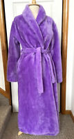 Vtg BORG FABRIC Long Robe Women's M LAVENDER PURPLE Plush Hollywood Glam Furry