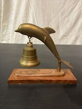 Vintage Solid Brass Dolphin Bell Stand, Service Bell With Wood Base