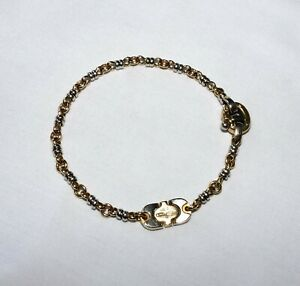 "7.75"" BARAKA 750 18k Solid Yellow & White Gold Rolo Link Bracelet 17.2 Grams"