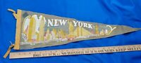 "Antique-VTG New York City Souvenir Felt Pennant 26"" Buildings RCA Chrysler"