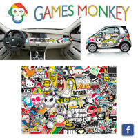 Pellicola Car Wrapping Adesiva 70x50 cm - STICKER BOMB 02 - Vinile PVC Lucido HD