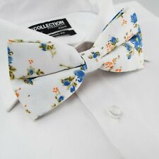 f1a3bdbfe853 Mens Pre-Tied Woven White Blue Floral Green Formal Ties Classic Bow Tie 32