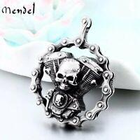 MENDEL Mens Stainless Steel Motorcycle Chain Biker Skull Pendant Necklace Men