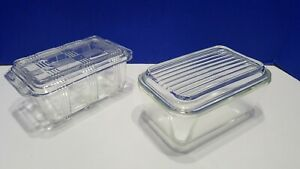 2 Vintage Pyrex Glass Refrigerator Dishes with Lids