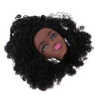 1//6 Black Doll Head with Make up Face Afro Curly Hair DIY Accessory 8cm