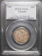 1887 Twenty-Five Cents PCGS VG-10 ** RARE Date LOW Mintage KEY Victoria Quarter