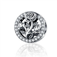 100% 925 Sterling Silver rose pandora Crystal Radiant Round Beads Charms