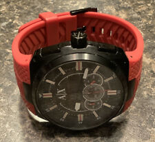 Armani Exchange Black & Red Silicone Band Watch AX1803