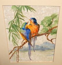 MABLE MASON TWO ORANGE, BLUE PARAKEET BIRDS ON A TREE WATERCOLOR SILK PAINTING