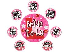 Lot de 8 badges rose Enterrement de Vie de Jeune Fille future mariée Bride to be