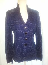 $1,300 NEW ST JOHN JACKET KNIT EXCLUSIVE SPARKLY BUTTONS NAVY CARDIGAN - sz 6 S