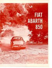 1961 FIAT ABARTH 850 ~ ORIGINAL 6-PAGE ROAD TEST / ARTICLE / AD